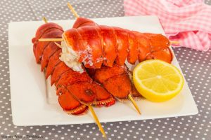 Lobster Tails with lemon wedge