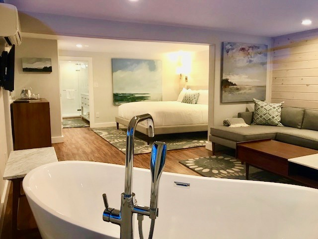 Room 8, junior suite, Windward Guest House, luxury firm king mattress with walk-in shower and luxurious soaking tub