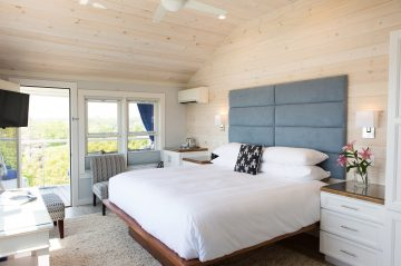Coveted corner room in the Windward Guest House, with lots of natural sunlight, vaulted ceilings and a luxury firm mattress