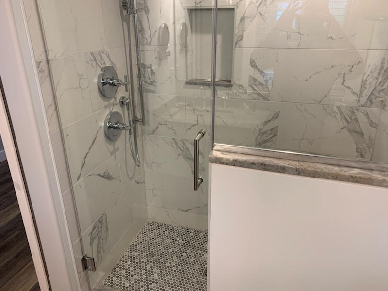 Glass and Tile Walk In shower