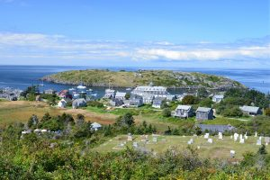 An aerial view of Monhegan Island, showing all the things to do at Monhegan Island