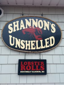 The sign for Shannon's Unshelled in Boothbay Harbor, ME