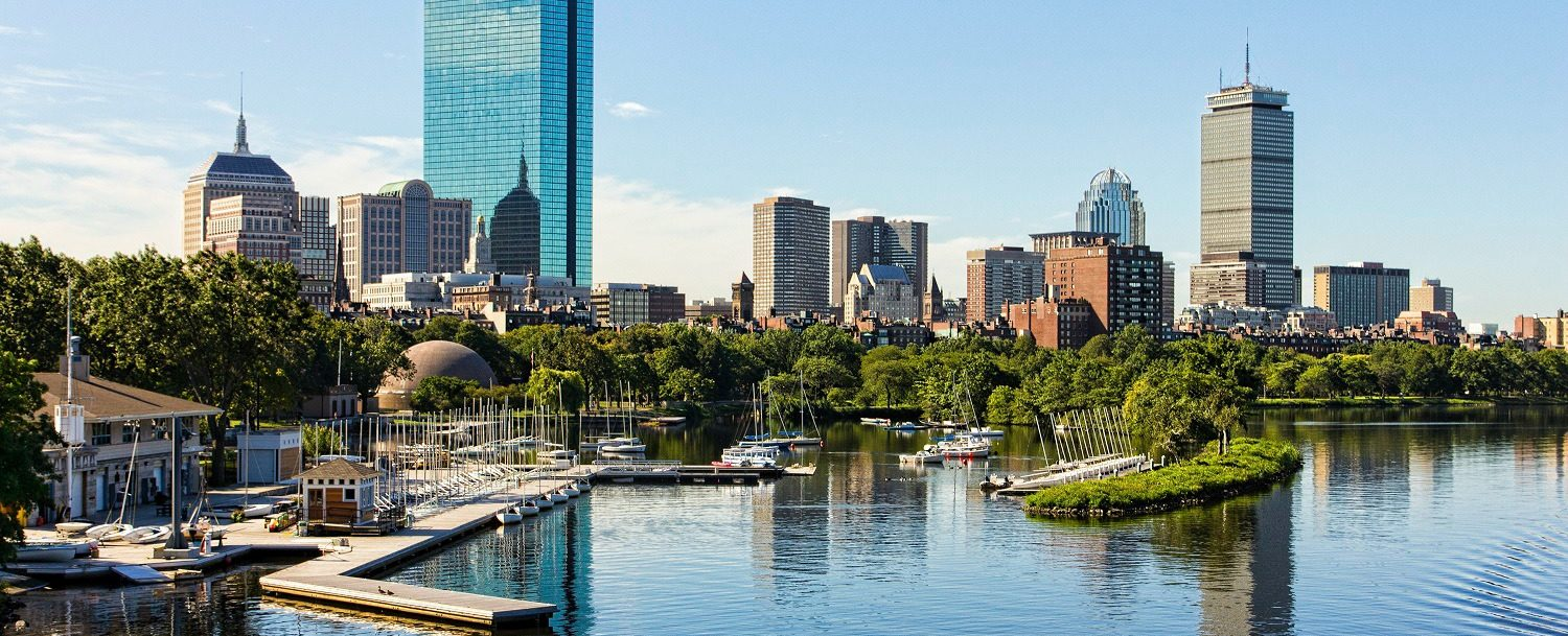 A skyline view of Boston from the water