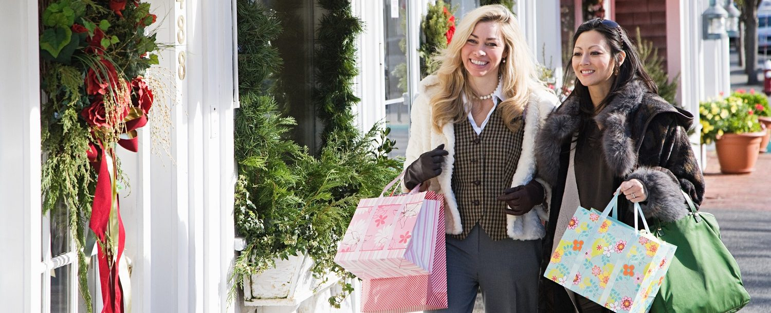 Women shopping during Christmas in Maine