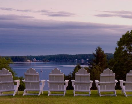 chairs overlooking water of boothbay harbor