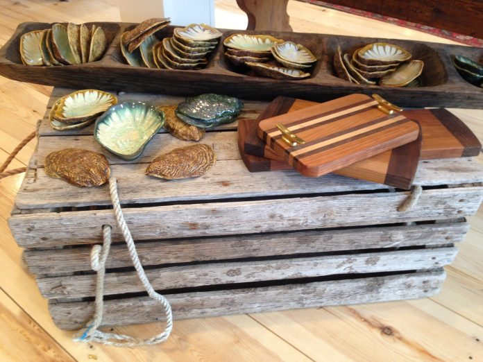 Decorated seashells and cutting boards at a Boothbay Harbor shop