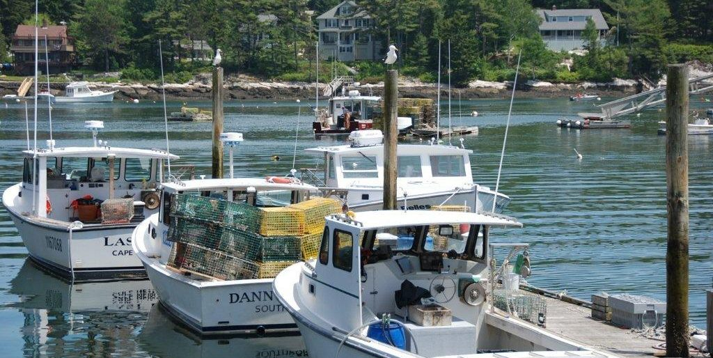 Lobster boats at a dock