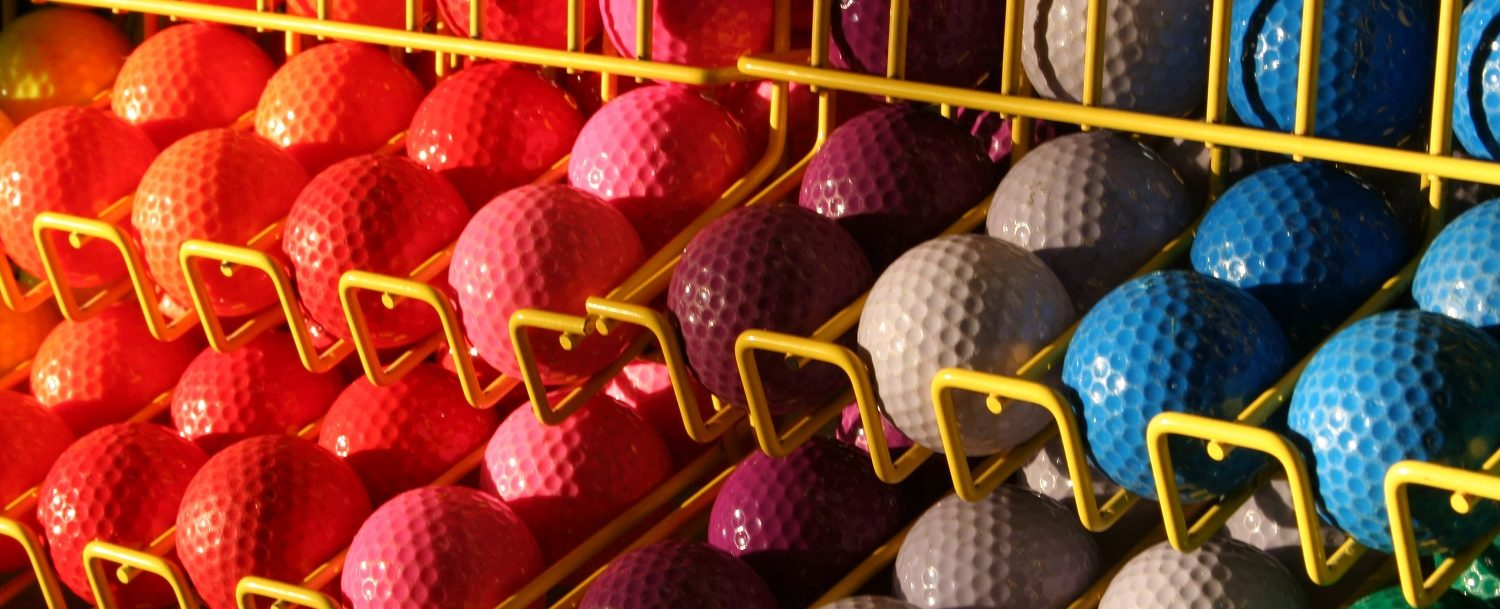 Miniature golf balls at Dolphin Mini Golf