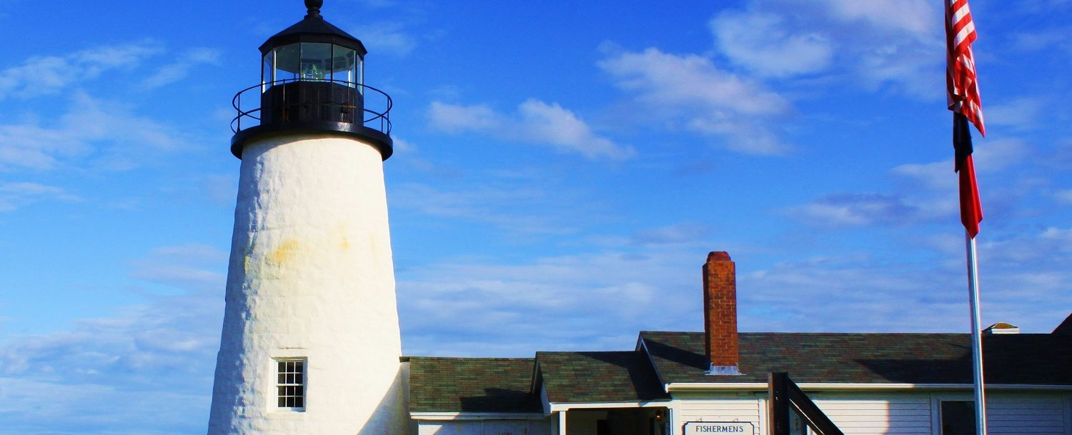 View of the Pemaquid Point Lighthouse in Bristol, Maine