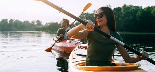 Couple kayaking at Damariscotta Lake State Park