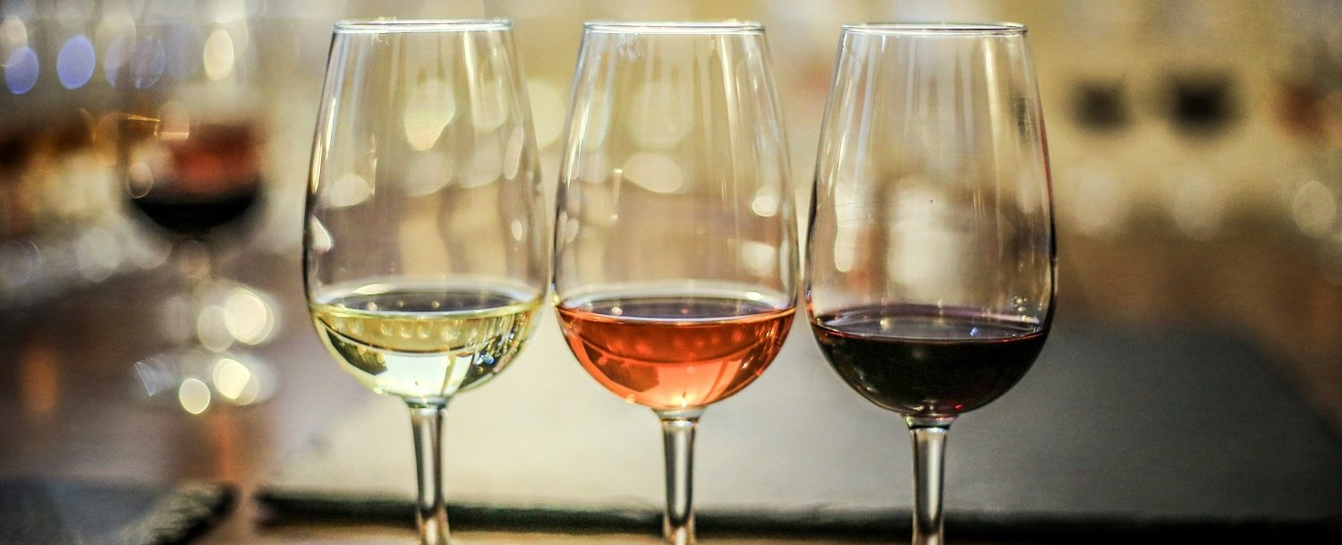 Different types of wine at Sweetgrass Farm Winery and Distillery