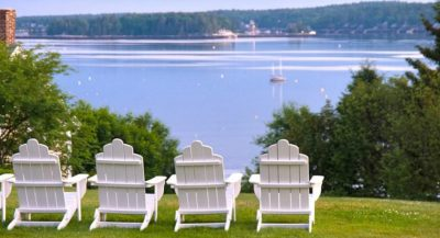 View of Boothbay Harbor from Topside Inn lawn