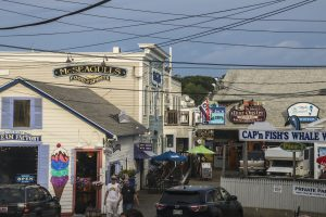 View of downtown Boothbay Harbor with local music venues, Mcseagull's, and Mine Oyster restaurants
