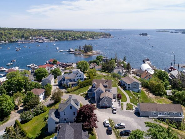 Aerial view of Boothbay Harbor area with several things to do and attractions
