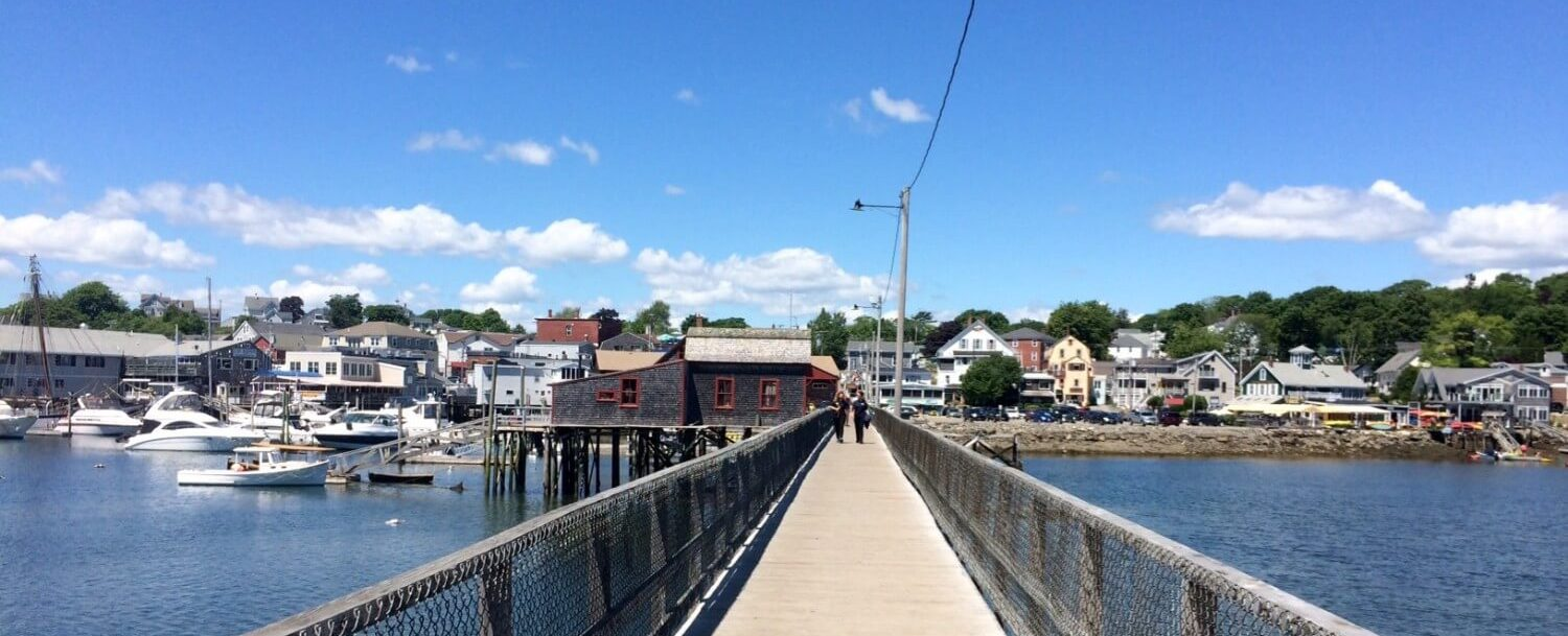 View when walking over the footbridge at Boothbay Harbor Fest