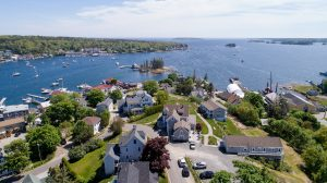 South view of Topside Inn and Boothbay Harbor near Barret Park