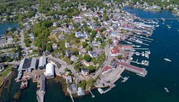 Aerial view of the area showing the things to do in Boothbay Harbor