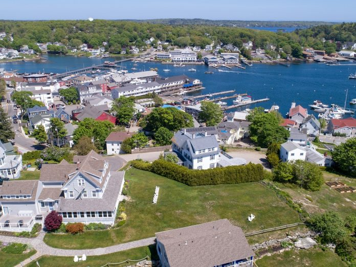 Aerial view of Boothbay Harbor showing one of the best small towns in Maine