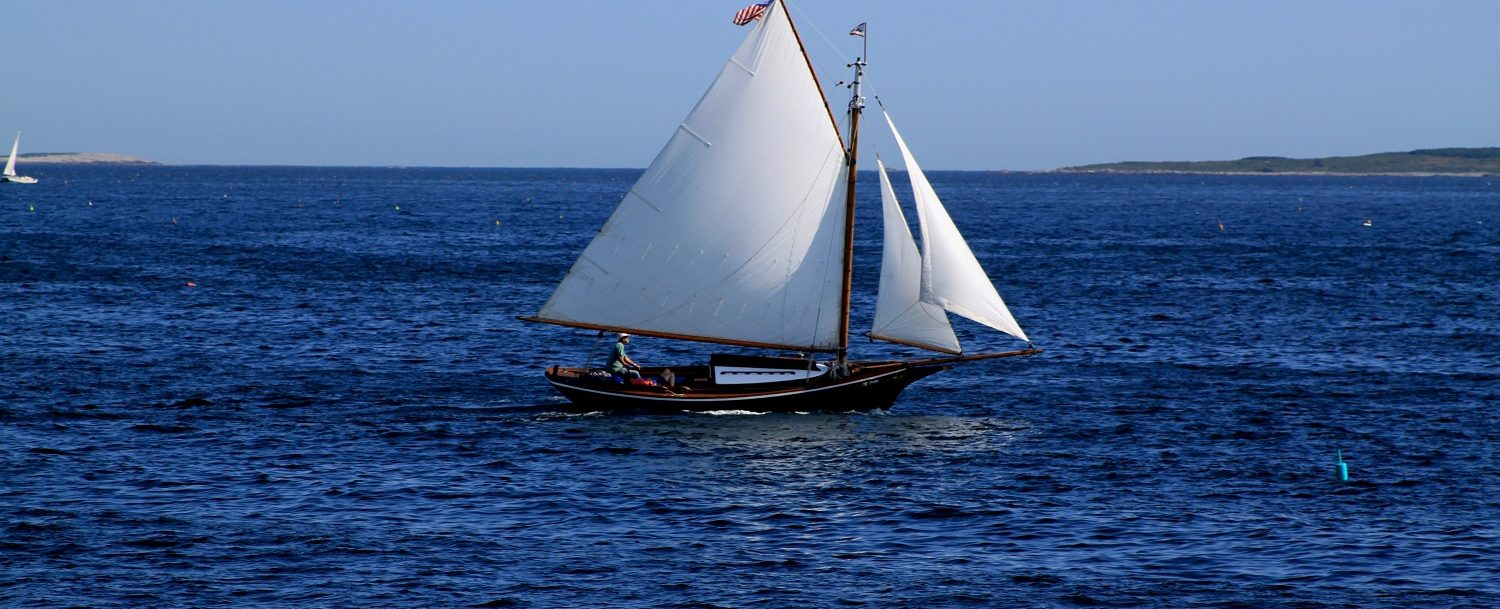 View of a sailboat, showing one of the Boothbay Harbor boat tours