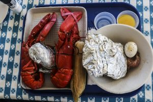 Plate of lobsters in Boothbay Harbor