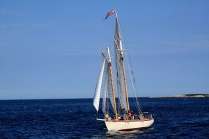 The Schooner Eastwind on the water