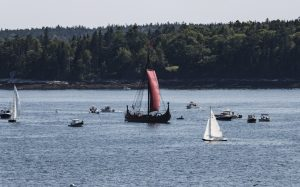 Unique viking ship sailing for an event in Boothbay Harbor