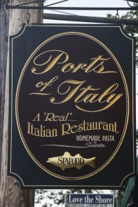 Sign outside of Ports of Italy