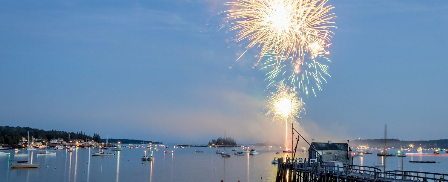 Fireworks over the water at one of the upcoming events in Boothbay Harbor, ME