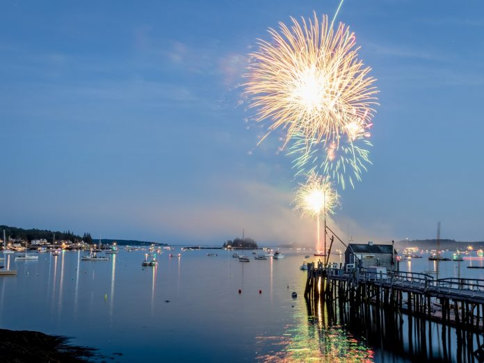 Fireworks over the water on the 4th of July in Boothbay Harbor, Maine