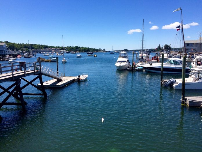 Boats docked in Boothbay Harbor, Maine, during Labor Day Weekend