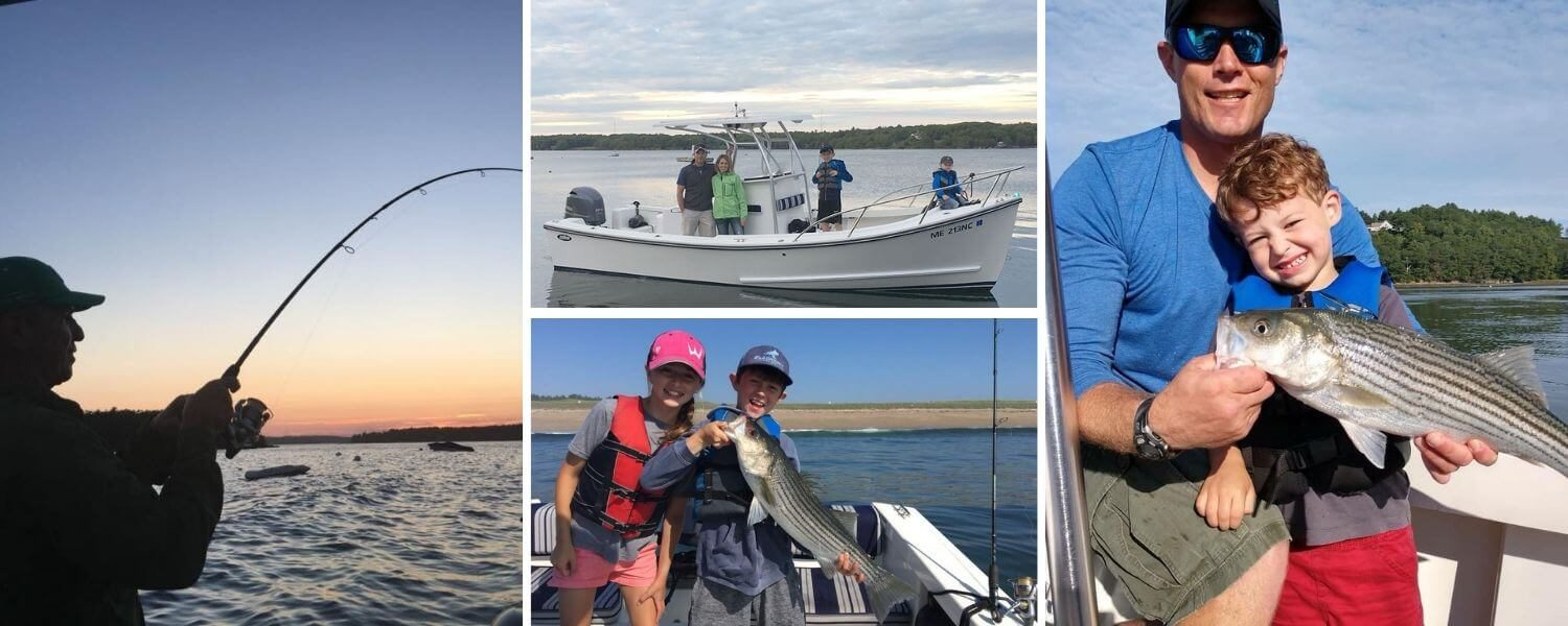 A collage of photographs of people fishing with Mainetain Charters