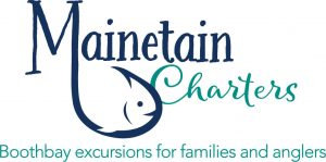 """The logo of Mainetain Charters that reads """"Mainetain Charters: Boothbay excursions for families and anglers"""""""