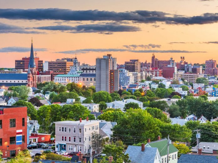 Downtown Portland, Maine, at sunset