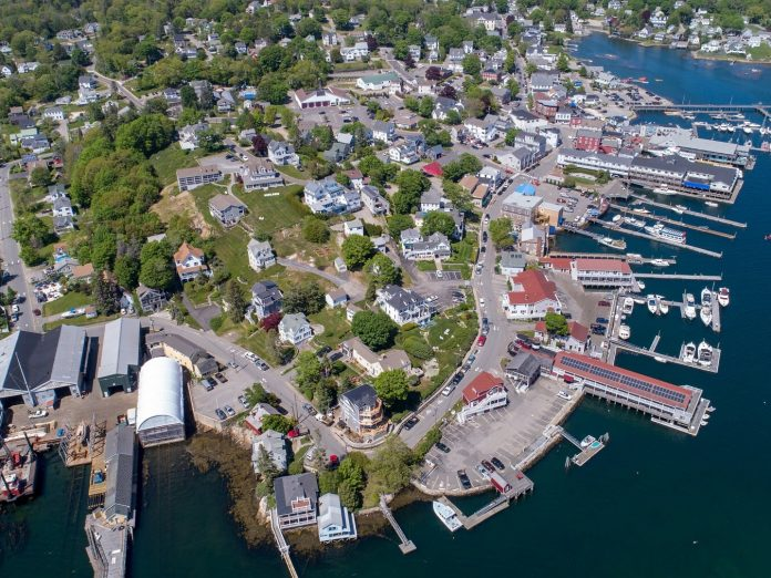 An aerial view of Boothbay Harbor with several hidden gems in Maine