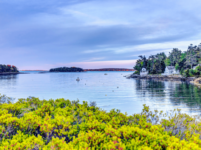 The waterfront in Boothbay Harbor, which is the best place for staycations in Maine