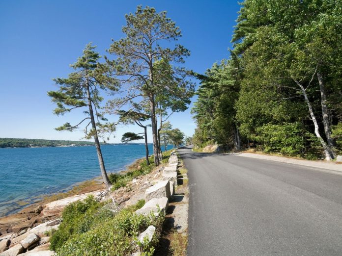 A road along the coastline for a scenic drive in Maine