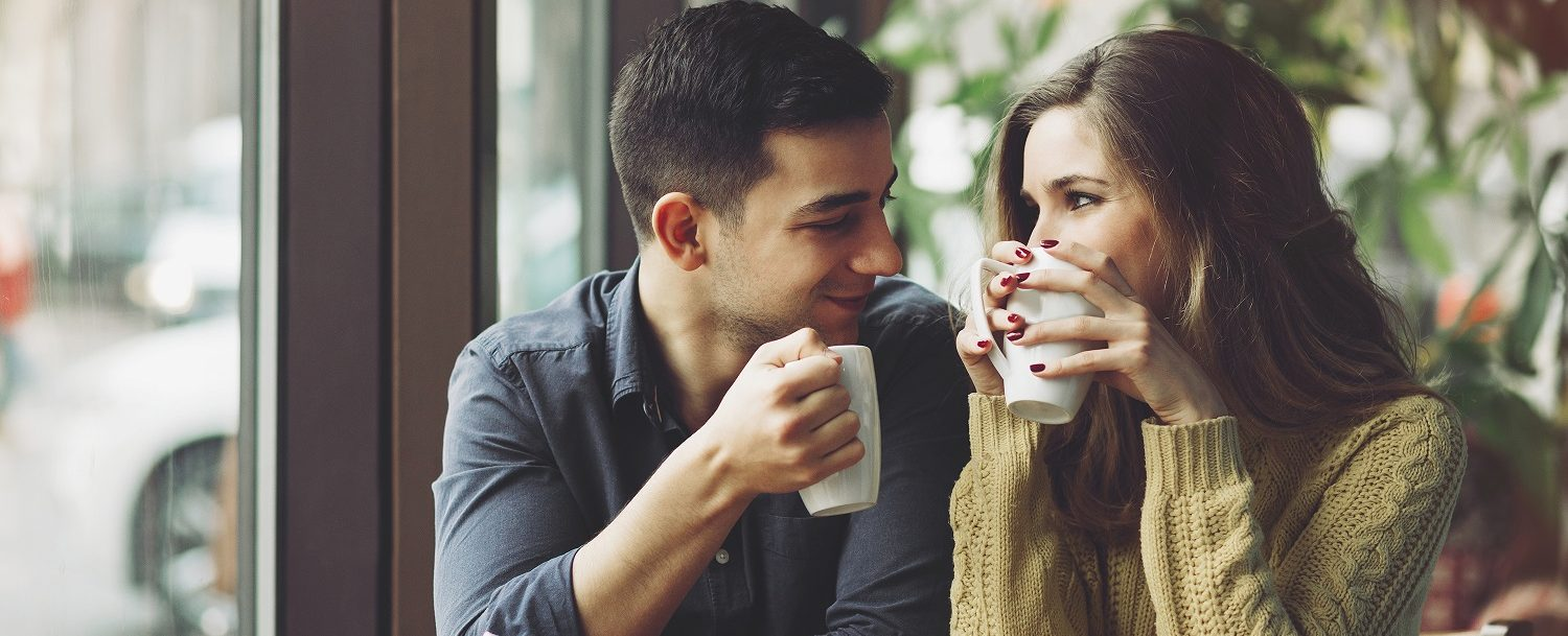 couple drinking coffee   Romantic weekend in maine